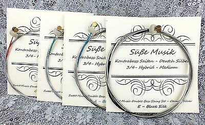 Upright/Double Bass String Set 3/4 Size German Silver E-A-D-G Süße Musik on Rummage