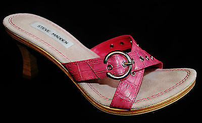 "Steve Madden ""Peter"" Pink Silver Leather Heeled Open Toe Slide Shoes Pump 7B"