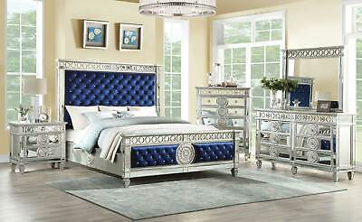 Transitional Mirror Silver Blue Fabric Bedroom Furniture - 5pc Queen Bed Set ABA