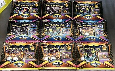 (9) Lot Pokemon Shining Fates Mad Party Pin Collection Box New Sealed TCG