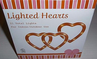 Set of Decorative VALENTINE'S DAY LIGHTED HEARTS  RED  3 HEARTS