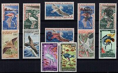 DJ146518/ MAURITANIA - BIRDS / LOT AIRMAIL 1961 - 1967 MINT MH – CV 168 $