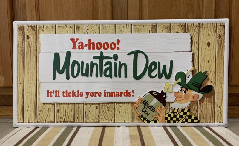 Mountain Dew Sign Soda Pop Gas Station It'll Tickle Your Innards Vintage Style