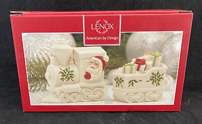 Lenox Holiday Santa North Pole Express Train Salt & Pepper Shaker Set NEW IN BOX