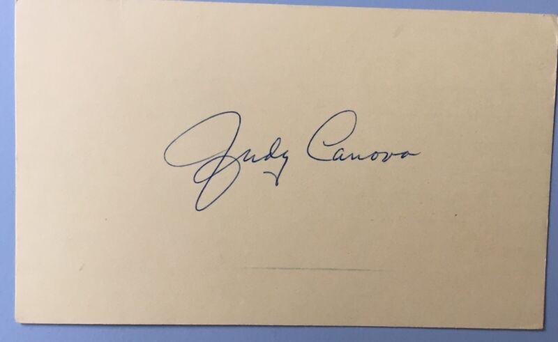 "Judy Canova Signed Colored Index Card 3""X5 Radio Show Star The Ozark Nightingale"