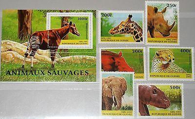 GUINEA 1997 1631 36 BLOCK 508 1389 1395 WILD ANIMALS TIERE GIRAFFE GEPARD MNH
