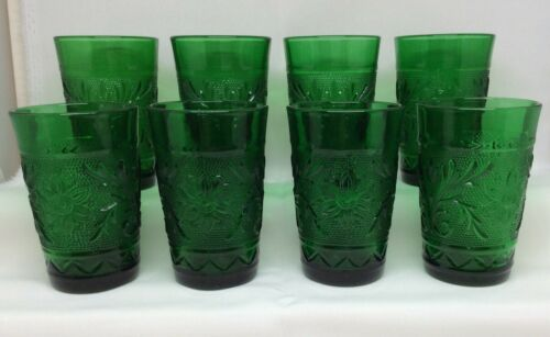 """Set of 8 Anchor Hocking Sandwich Forest Green Juice Glasses 3.5"""" Tiara Oatmeal"""