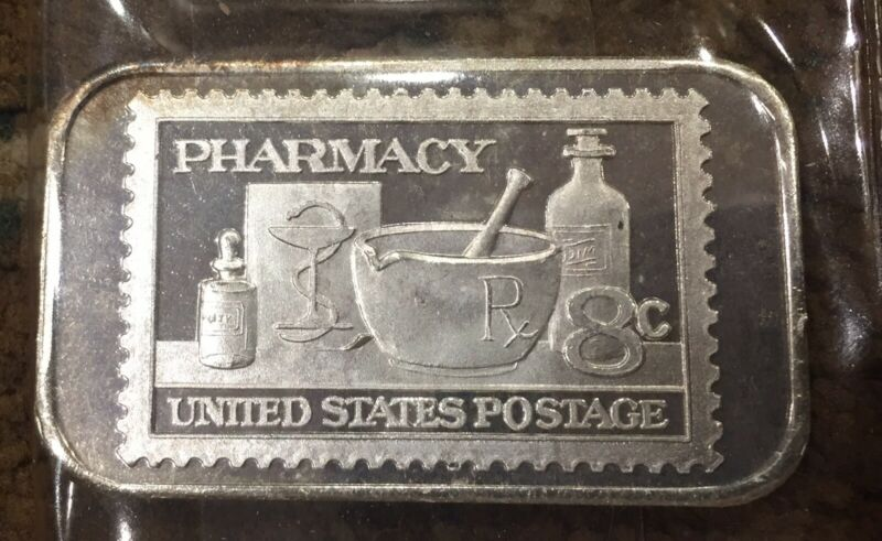 1 Ounce .999 Fine Silver Art Bar Of The 1972 Pharmacy Stamp Awesome gift