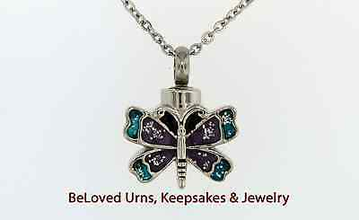 Small Blue and Purple Butterfly Cremation Jewelry Pendant Urn Keepsake Necklace