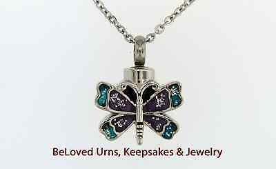 Small Blue and Purple Butterfly Cremation Jewelry Pendant Urn Keepsake - Blue And Purple Necklace