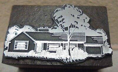 Vintage Printing Letterpress Printers Block House Trees And Mature Landscape