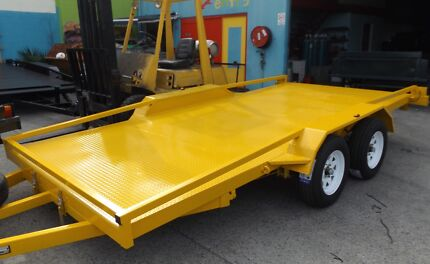 2800KG 15FT TILTING NEW CAR TRAILERS RAMPS/RAILINGS NEW TYRES Gold Coast City Preview