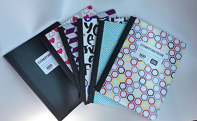NEW COMPOSITION NOTE BOOKS (LOT OF 5) -100 SHEETS - COLLEGE/WIDE RULED 200 PAGES
