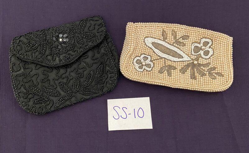 Vintage beaded purses black and cream WALBORG & Japan Pearls