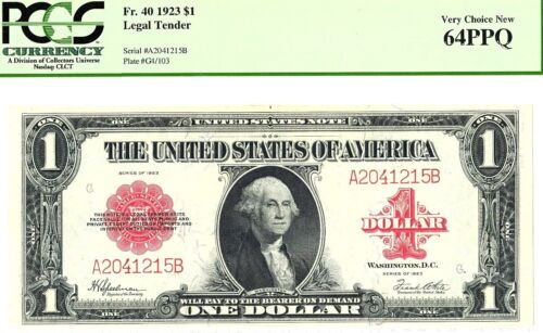 """BEAUTIFUL VERY CHOICE CU 1923 $1 """"RED SEAL""""  US NOTE PCGS 64 PPQ  """"EYE CANDY"""""""