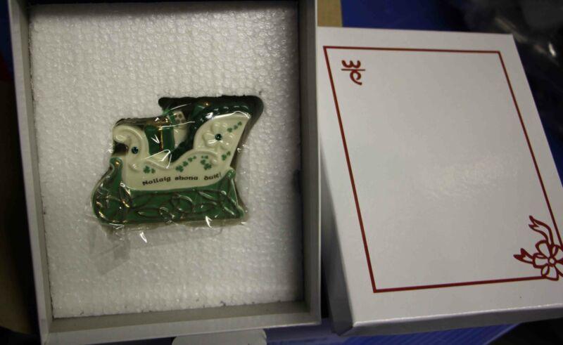 Danbury Mint Nollaig Shona Dute sleigh Christmas ornament - new