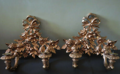 2 Italian Florentine Gold  Wall Sconce Candle Holders - Ribbons & Flowers