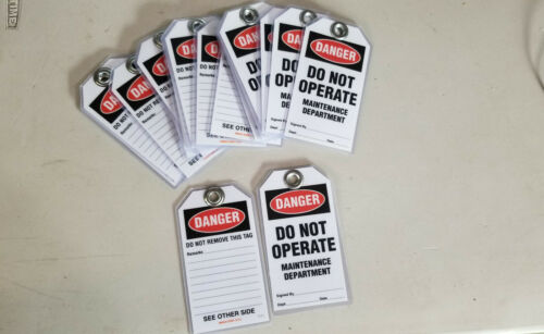 Lockout Tags. Bag of 17. Heavy duty. Laminated for dry erase.