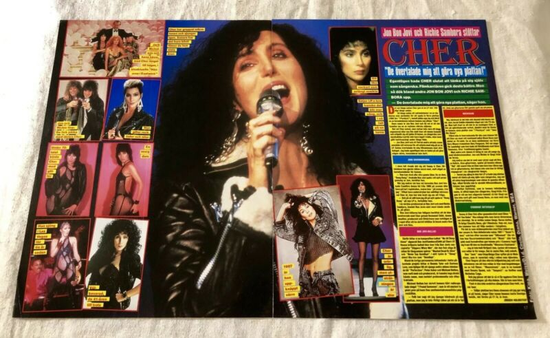 CHER 1987 Clippings Posters Swedish Music magazine Okej Vintage 1980s