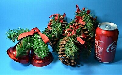 CHRISTMAS VINTAGE DECORATIONS  PINE CONES & RED BELLS HUGE DECORATED ORNAMENT