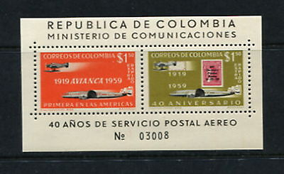 Colombia #C350 aviation stamp on stamps 1960  sheet  MNH  G109