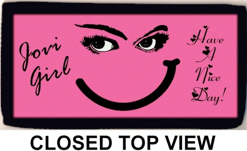 Bon Jovi Smirky Girl Pink Have A Nice Day Checkbook Cover Credit Card Holder