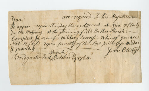 1764 Capt Isaac Otis, Militia Duty Form Template, Training Order, Bridgewater MA