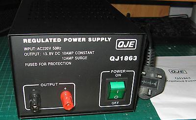 QJE 10-12amp LINEAR 240v 12v DC Power Supply PSU for CB Two-Way Radio etc