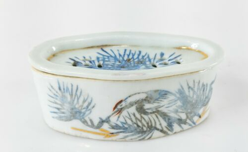 Antique Chinese Republic Porcelain Cricket Cage Heron Pine Calligraphy