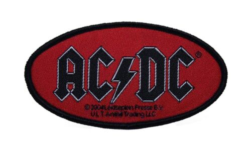 AC/DC Red Oval Logo Woven Sew On Battle Jacket Patch - Licensed 090