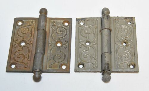 2 MATCHING VINTAGE EASTLAKE STYLE CANNONBALL PIN HINGES 3 1/2  X 3 1/2