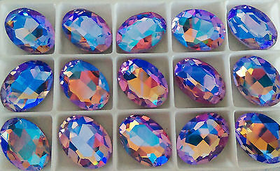 18mm x 25mm Faceted Oval Glass Chaton Crystals Fancy Cabochons Violet Ab