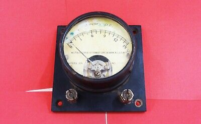 Vintage Weston 301 Dc Amperes Meter Gauge 0-15 Amp Flush Mount Housing Nickel