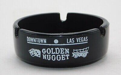 Vintage Las Vegas Golden Nugget Downtown Black Ceramic Ash Tray