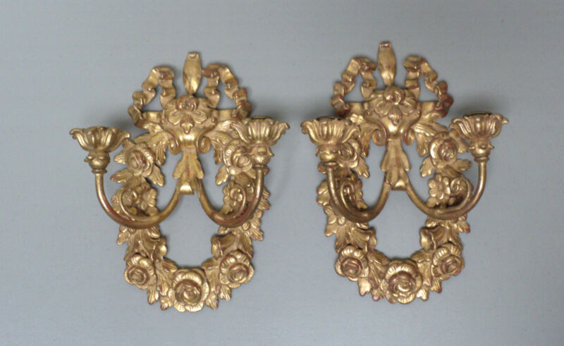 BEAUTIFUL PAIR ANTIQUE ITALIAN GILT WOOD 2-LITE WALL SCONCES