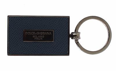 NWT DOLCE & GABBANA Silver Brass Blue Leather Branded Finder Chain Keyring