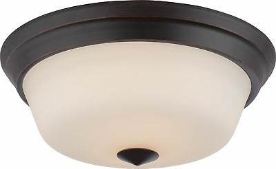 - Nuvo Calvin 2 Light Flush Fixture with Satin White Glass LED Omni Included