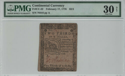 1776 $2/3 CONTINENTAL CURRENCY COLONIAL FUGIO NOTE CC-22 PMG VERY FINE 30 NET