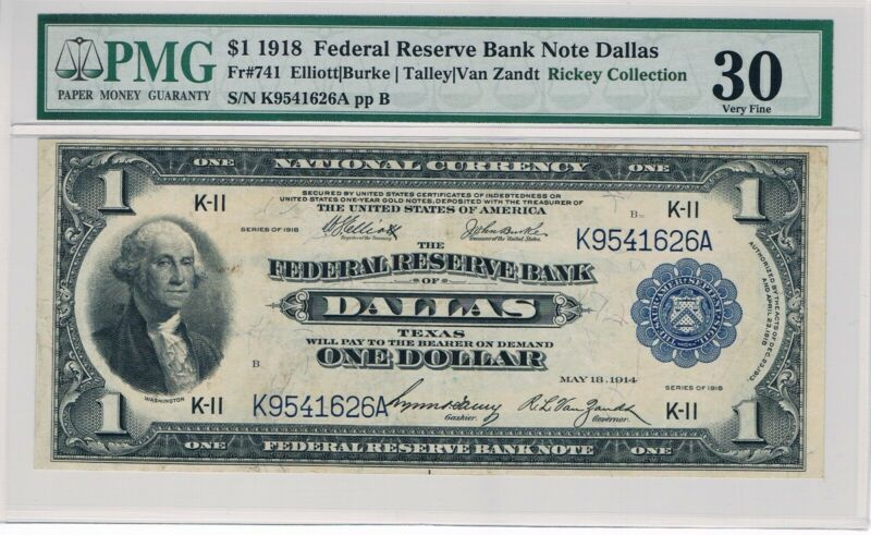 Dallas - 1918 $1 Federal Reserve Bank NotePMG-30