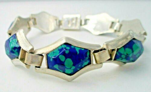 Artisan 950 Silver Flexible Bracelet Azurite Taxco Mexico Box Clasp Signed TL-62