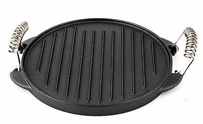 Gusseisen runde Grillplatte Grillaufsatz 25cm Platte Guss für Gaskocher Gasgrill
