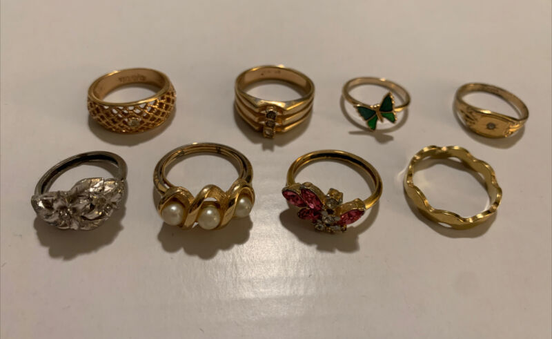 Lot Of 8 Avon Rings Silver Gold Tone S5.5-9 Butterfly Pearl Rhinestone R1