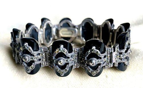ELEGANT c1920 ART DECO Sterling Silver BLACK ONYX & MARCASITE Bracelet