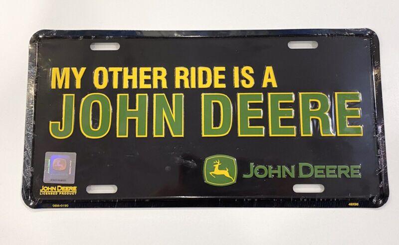 John Deere Metal Embosed License Plate My Other Ride Is.