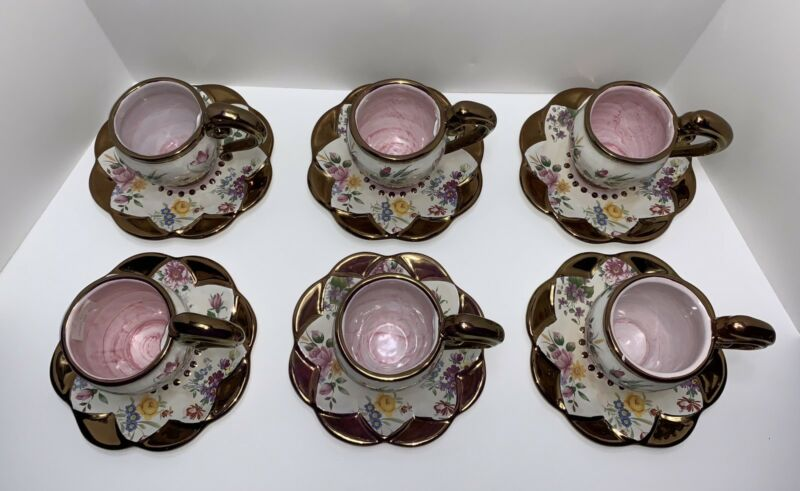 Rare Mackenzie Childs Chelsea Luster Tea Cups & Saucers - Set Of 2!