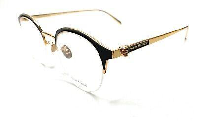 Alexander McQueen AM0203OA 001 Gold Men's Authentic Eyeglasses Frame 53-17-B8