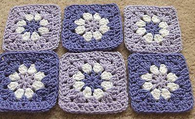 "20 4 1/2""LILAC & LAVENDER BLUE Daisy FLOWER Crochet GRANNY SQUARES Afghan Blocks"