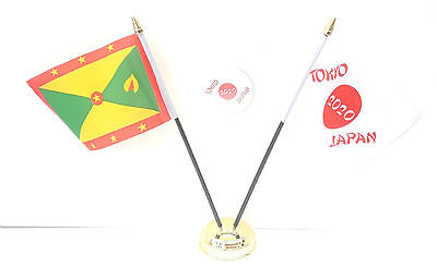 Grenada & Tokyo Japan Olympics 2020 Desk Flags & 59mm BadgeSet