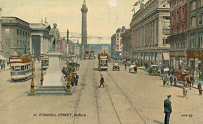 Dublin,Ireland,O'Connell Street,Trolley Cars,Old Cars,c.1920