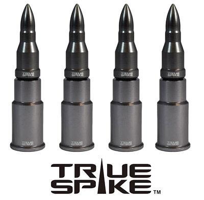 4 TRUE SPIKE GUNMETAL BULLET TIRE WHEEL AIR VALVE STEM CAP FOR DODGE SUV TRUCK